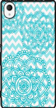 aqua chevrons and flowers Sony Xperia M4 Aqua Case
