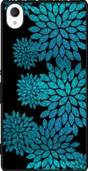 aqua glitter flowers on black Sony Xperia M4 Aqua Case