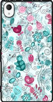 doodle flowers and butterflies Case for Sony Xperia M4 Aqua