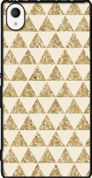 Glitter Triangles in Gold Case for Sony Xperia M4 Aqua