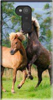 Two Icelandic horses playing, rearing and frolic around in a meadow Case for Sony Xperia L2