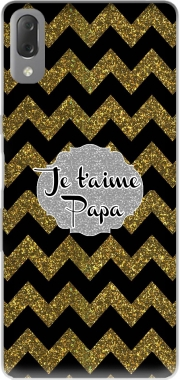 chevron gold and black - Je t'aime Papa Case for Sony Xperia L3