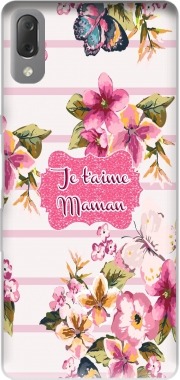 Pink floral Marinière - Je t'aime Maman Case for Sony Xperia L3
