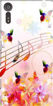 Musical Notes Butterflies Case for Sony Xperia XZ