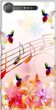 Musical Notes Butterflies Case for Sony Xperia XZ1