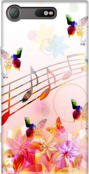 Musical Notes Butterflies Case for Sony Xperia XZ1 Compact