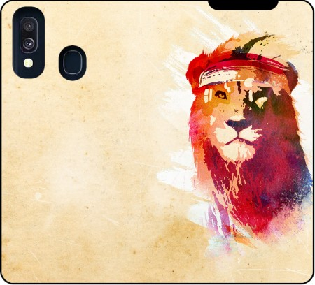 Wallet Case Gym Lion for Samsung Galaxy A40
