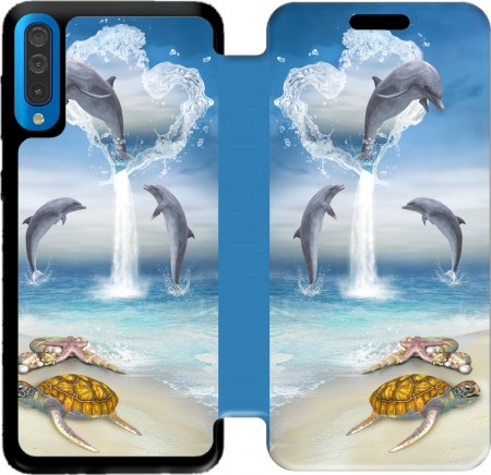 Wallet Case The Heart Of The Dolphins for Samsung Galaxy A50