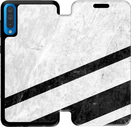 Wallet Case White Striped Marble for Samsung Galaxy A50
