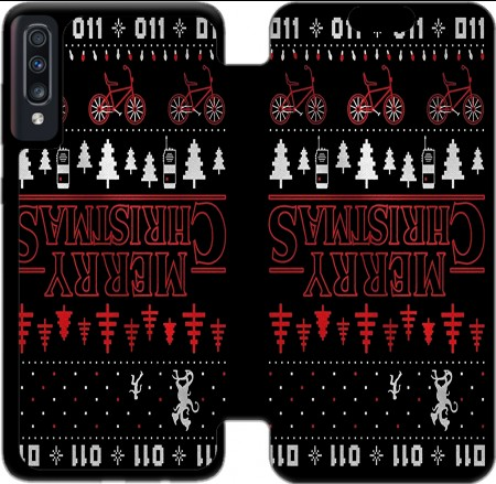 Wallet Case Upside Down Merry Christmas for Samsung Galaxy A70