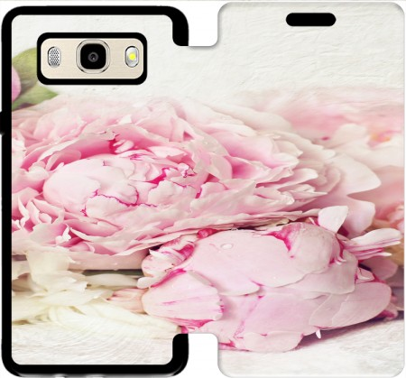 Wallet Case peonies on white for Samsung Galaxy J5 (2016)