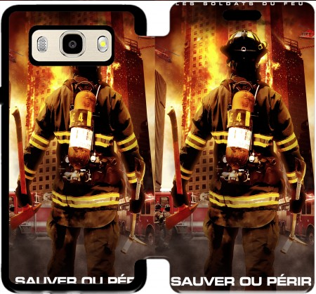 Wallet Case Save or perish Firemen fire soldiers for Samsung Galaxy J5 (2016)