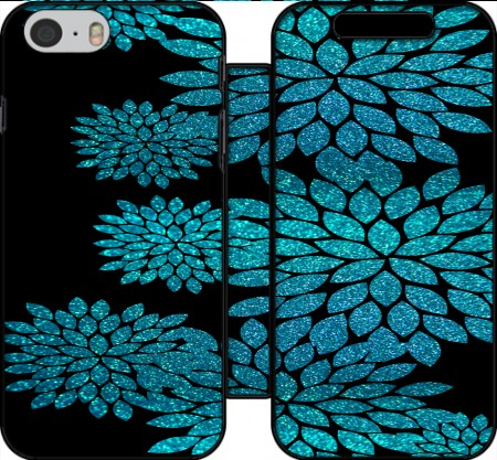 Wallet Case aqua glitter flowers on black for Iphone 6 4.7