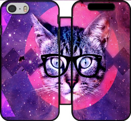 Wallet Case Cat Hipster for Iphone 6 4.7