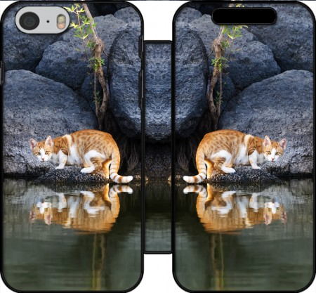 Wallet Case Cat Reflection in Pond Water for Iphone 6 4.7