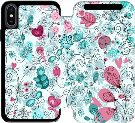 Wallet Case doodle flowers and butterflies for Iphone X / Iphone XS