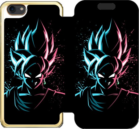 Wallet Case Black Goku Face Art Blue and pink hair for Iphone 7 / Iphone 8