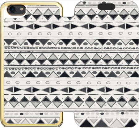 Wallet Case Ethnic Candy Tribal in Black and White for Iphone 7 / Iphone 8