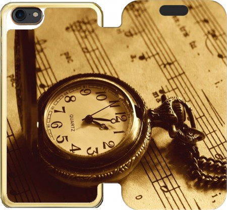 Wallet Case Montre a gousset ancienne sur partition de musique for Iphone 7 / Iphone 8