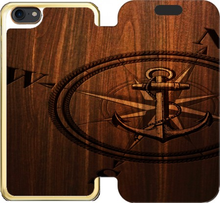 Wallet Case Wooden Anchor for Iphone 7 / Iphone 8