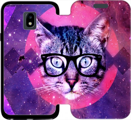 Wallet Case Cat Hipster for Samsung Galaxy J3 2017 Europe