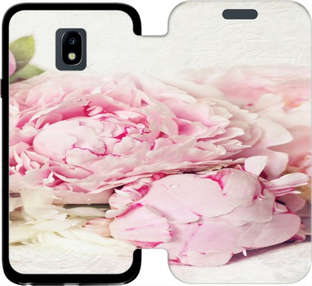 Wallet Case peonies on white for Samsung Galaxy J3 2017 Europe