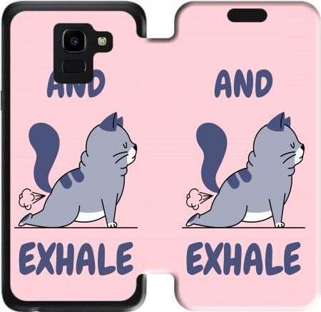 Wallet Case Cat Yoga Exhale for Samsung Galaxy J6 2018