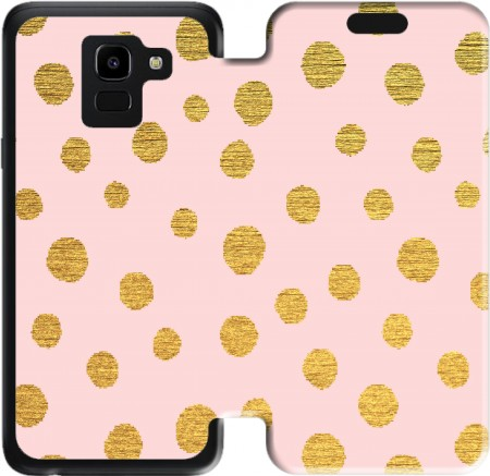 Wallet Case Golden Dots And Pink for Samsung Galaxy J6 2018