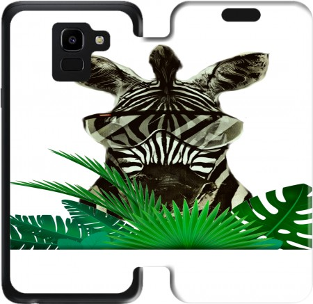 Wallet Case Hipster Zebra Style for Samsung Galaxy J6 2018