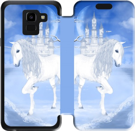 Wallet Case The White Unicorn for Samsung Galaxy J6 2018
