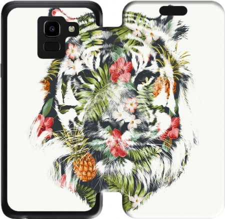 Wallet Case Tropical Tiger for Samsung Galaxy J6 2018