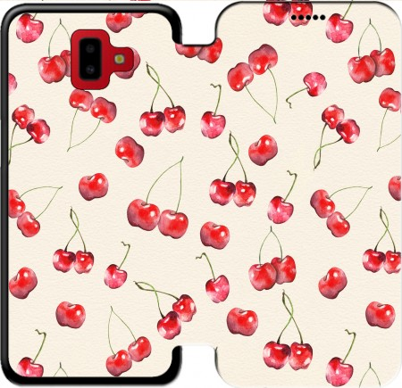 Wallet Case Cherry Pattern for Samsung Galaxy J6+