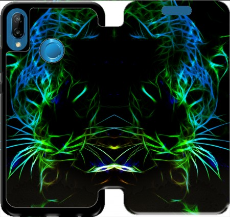 Wallet Case Abstract neon Leopard for Huawei P20 Lite