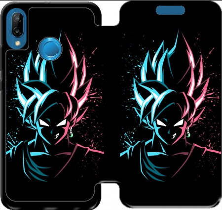 Wallet Case Black Goku Face Art Blue and pink hair for Huawei P20 Lite