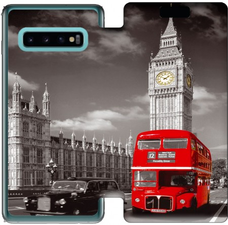 Wallet Case Red bus of London with Big Ben for Samsung Galaxy S10