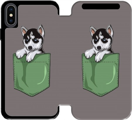 Wallet Case Husky Dog in the pocket for Iphone Xs Max