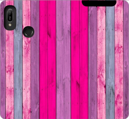 Wallet Case Pink wood for Huawei Y6 2019
