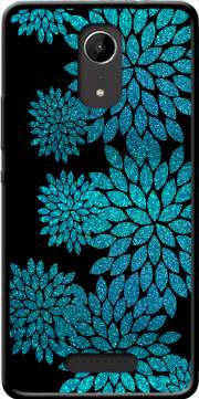 aqua glitter flowers on black Case for Wiko Tommy 2