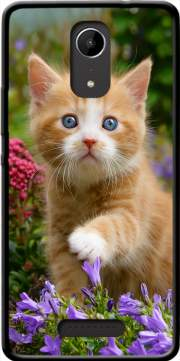 Cute ginger kitten in a flowery garden, lovely and enchanting cat Case for Wiko Tommy 2