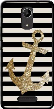 gold glitter anchor in black Case for Wiko Tommy 2