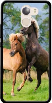 Two Icelandic horses playing, rearing and frolic around in a meadow Case for Wileyfox Swift 2x