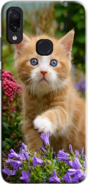 Cute ginger kitten in a flowery garden, lovely and enchanting cat Case for Xiaomi Redmi Note 7
