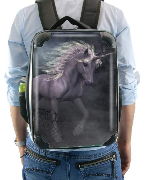 A dreamlike Unicorn walking through a destroyed city for Backpack