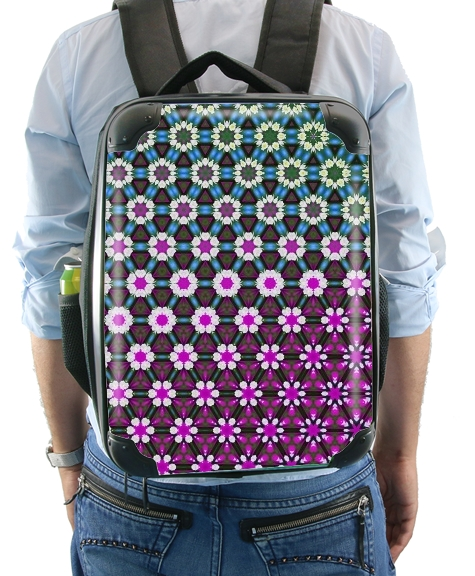 Abstract bright floral geometric pattern teal pink white for Backpack
