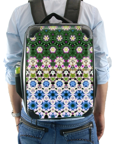 Abstract ethnic floral stripe pattern white blue green for Backpack