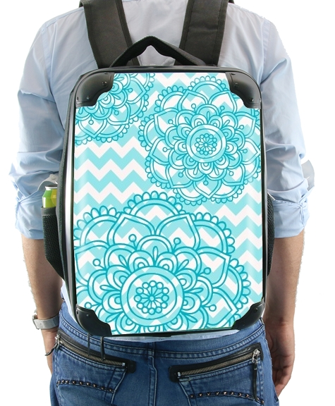 aqua chevrons and flowers for Backpack