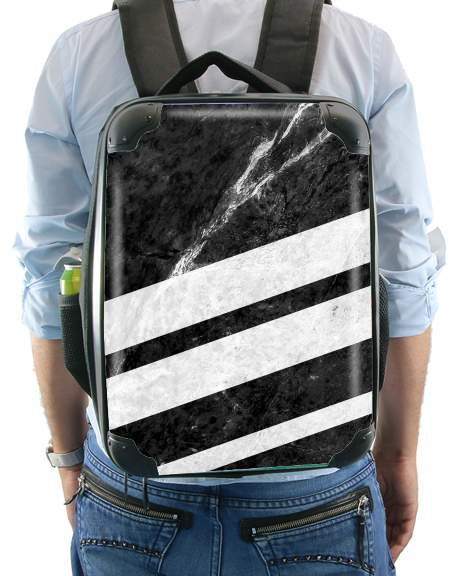 Black Striped Marble for Backpack