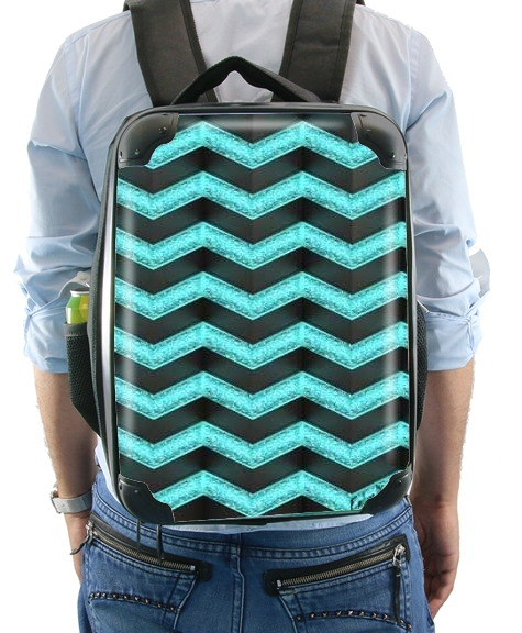 Blue Glitter Chevron for Backpack