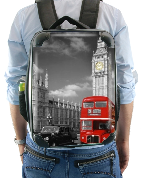 Red bus of London with Big Ben for Backpack