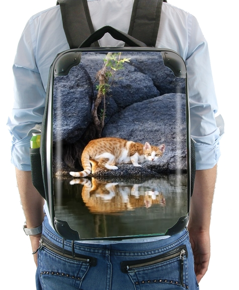 Cat Reflection in Pond Water for Backpack